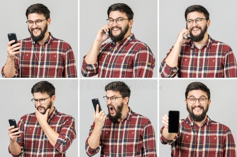 Set of handsome emotional man using mobile phone royalty free stock photos