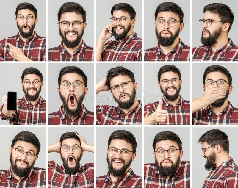 Set of handsome man with different emotions and gestures royalty free stock image