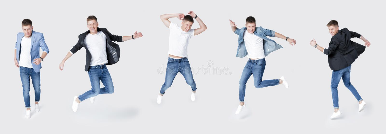 Set of handsome man in jeans and jacket jumping stock images