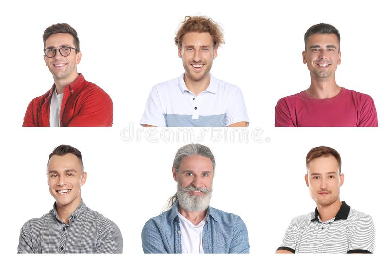 Set with handsome men portraits royalty free stock photography