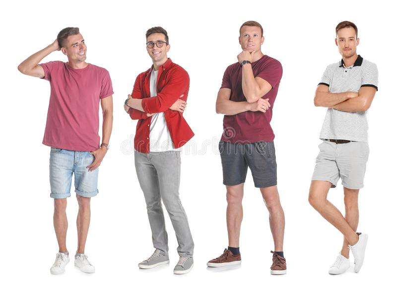 Set with handsome men. Full length portraits on white background stock image