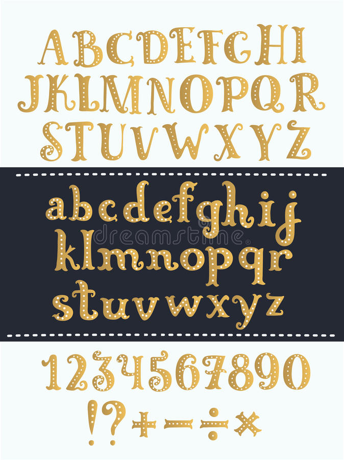 Set of handwritten gold latin letters. Vector script font. Golden alphabet isolated on background. royalty free illustration