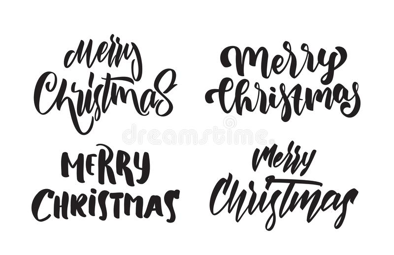 Set of Handwritten modern type lettering of Merry Christmas. Typography design for Greetings Cards stock illustration