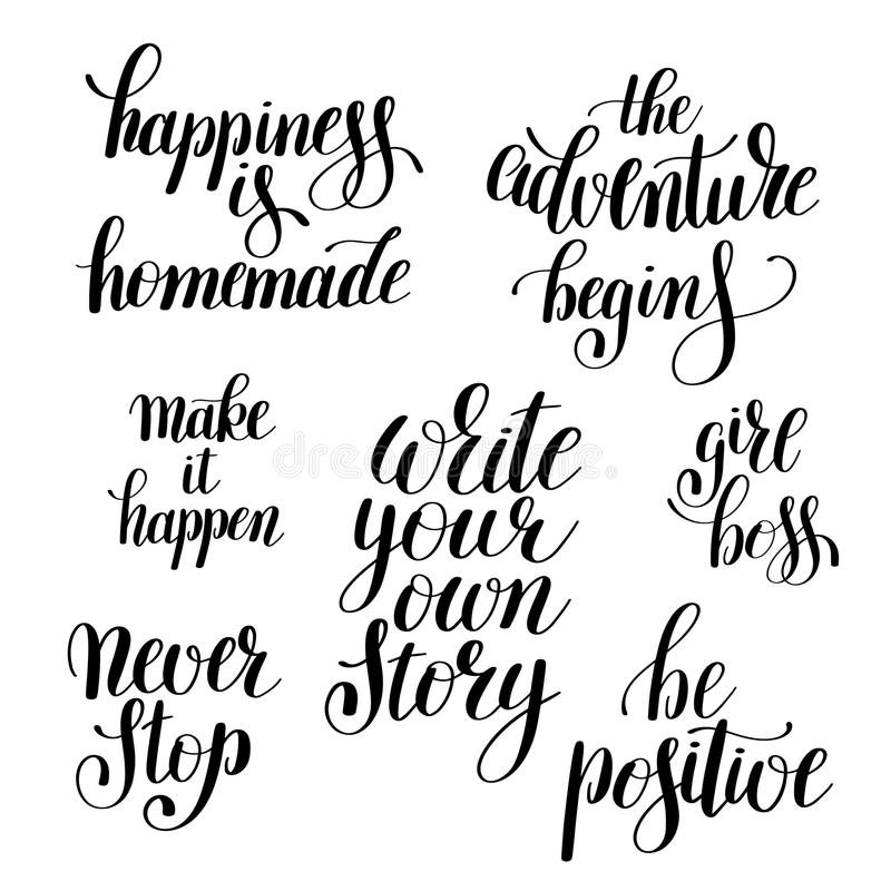 Set Of Handwritten Positive Inspirational Quotes Brush