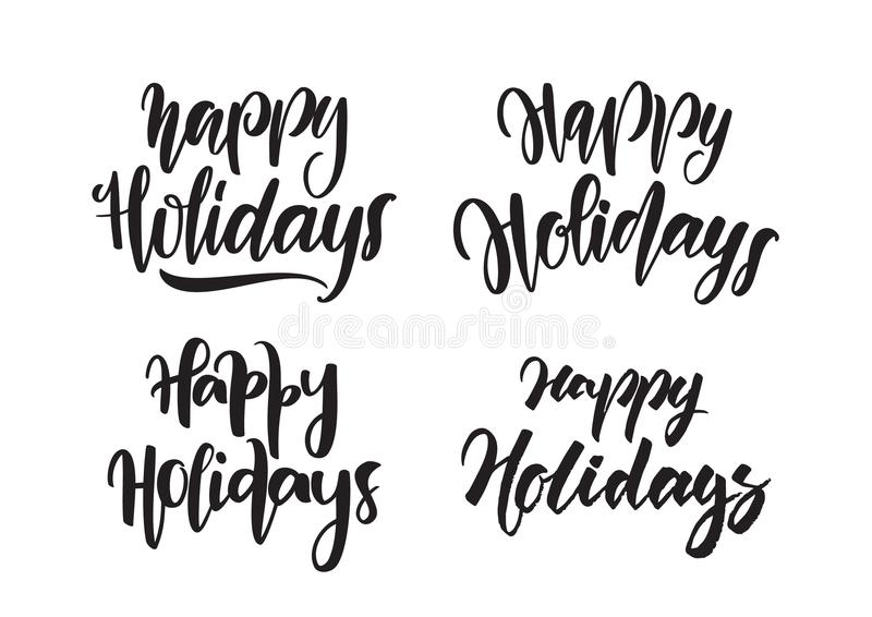 Set of Handwritten type lettering of Happy Holidays. Typography design. Vector illustration: Set of Handwritten type lettering of Happy Holidays. Typography vector illustration