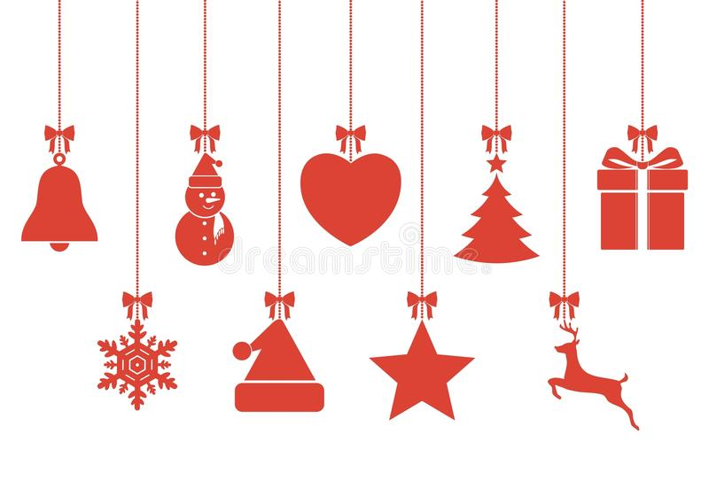 Set of hanging Christmas baubles with symbols. Vector icon royalty free illustration