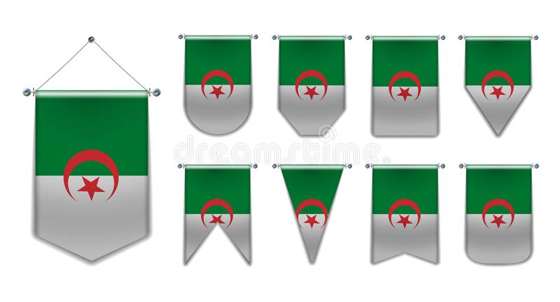 Set of hanging flags of the ALGERIA with textile texture. Diversity shapes of the national flag country. Vertical stock illustration