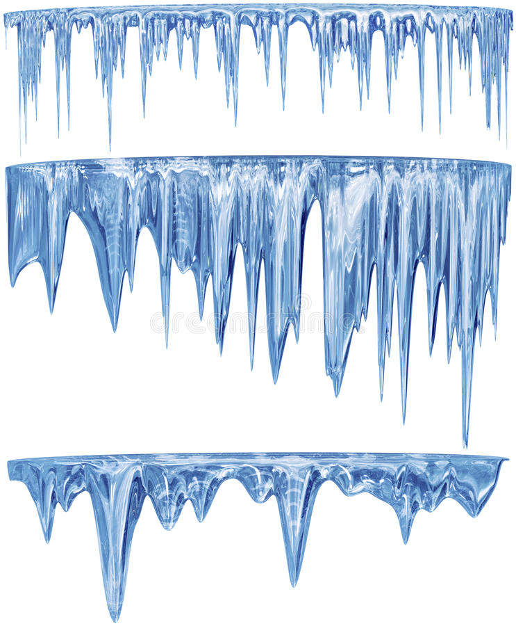 Set of hanging thawing icicles of a blue shade. Set of hanging thawing and melting blue dripping icicles, as a shiny crystal glass, with crisp spikes in icy royalty free stock photography