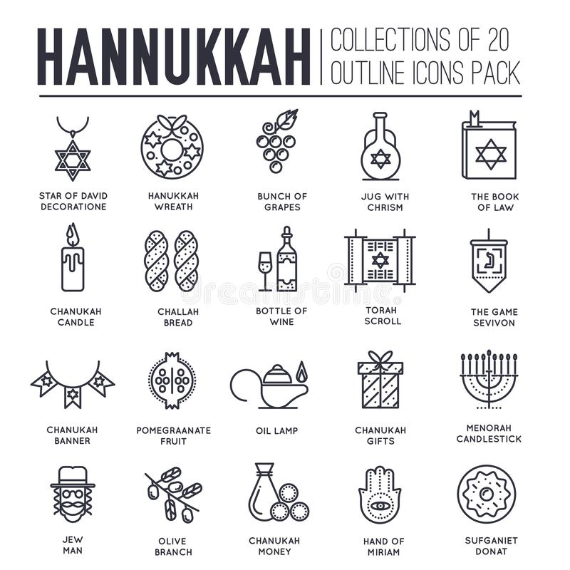 Set of hanukkah decor and attributes thin line icons. vector illustration