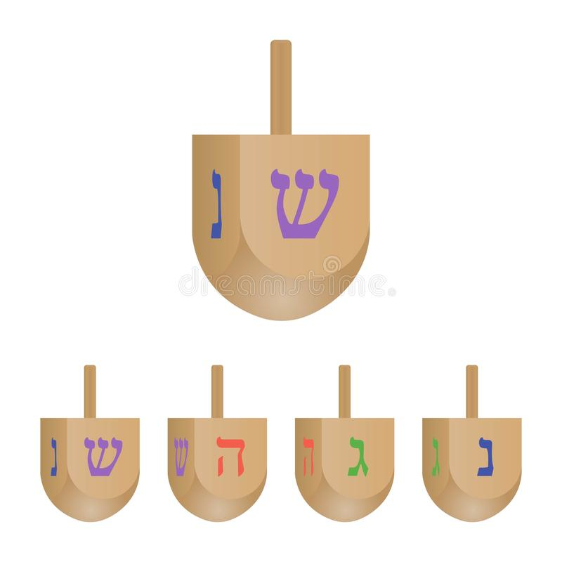 Set of Hanukkah dreidels icons isolated on white background. 3d dreidels with its letters of the He. Brew. Vector illustration royalty free illustration