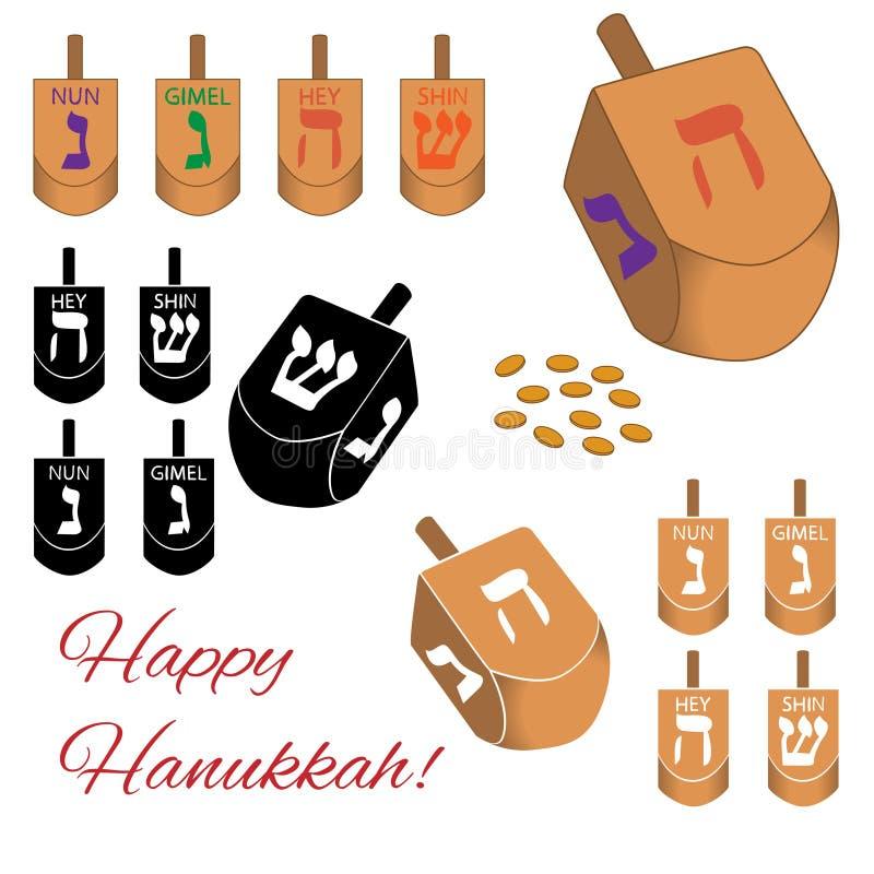 Set Hanukkah dreidels ikony odizolowywać na białym tle również zwrócić corel ilustracji wektora fotografia royalty free