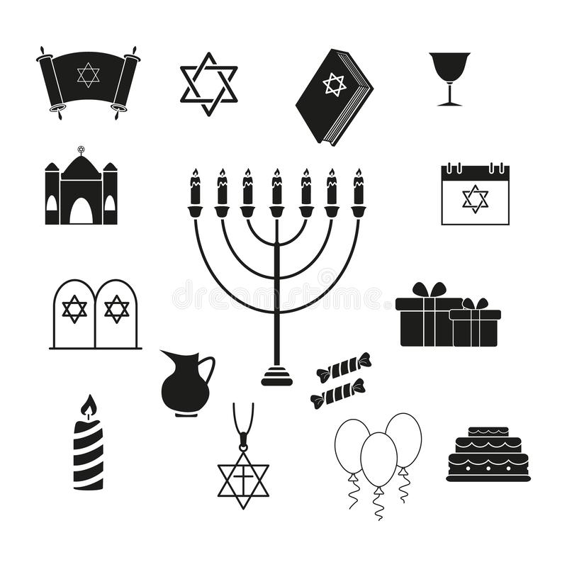 Set Hanukkah wakacje ikony royalty ilustracja