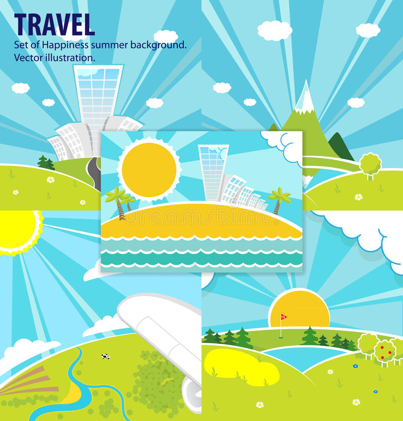 Set Of Happiness Vector Background. Travel. Stock Photo