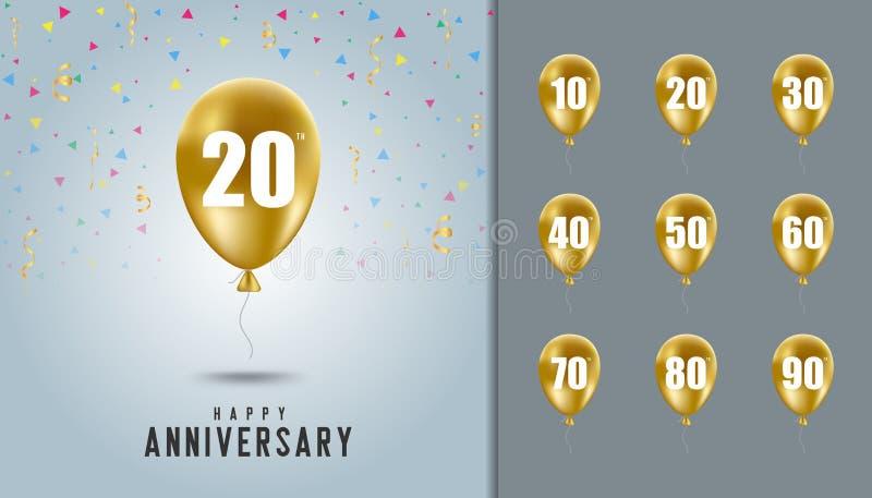 Set of happy anniversary background. Golden balloon with anniversary celebration background. Design template for booklet, leaflet. Magazine, brochure poster vector illustration