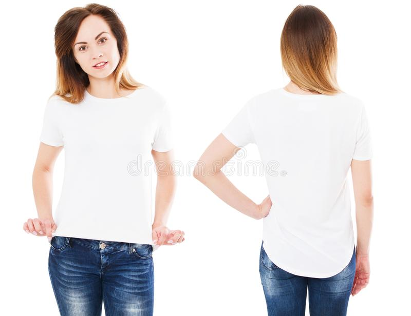 Set happy asian woman pointing with on her blank white t-shirt while standing isolated, korean girl stock photo