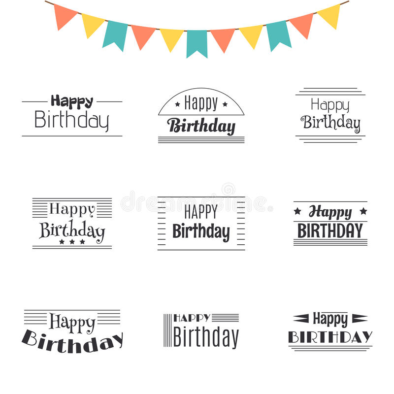 Set of Happy Birthday greeting cards. Birthday theme labels. Typography design elements. Postcard royalty free illustration
