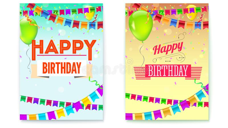 Set of Happy Birthday greeting posters. Festive background with garlands, confetti and colored balloons. Stylish retro. Lettering Happy birthday. Vector royalty free illustration