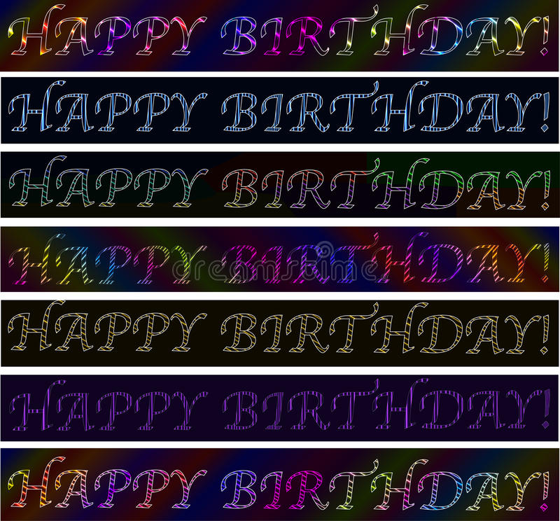 Set of Happy birthday! signs neon laser colorful vibrant banners royalty free illustration