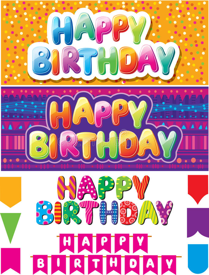 Download Set Of  Happy Birthday Texts Royalty Free Stock Photography - Image: 28484607