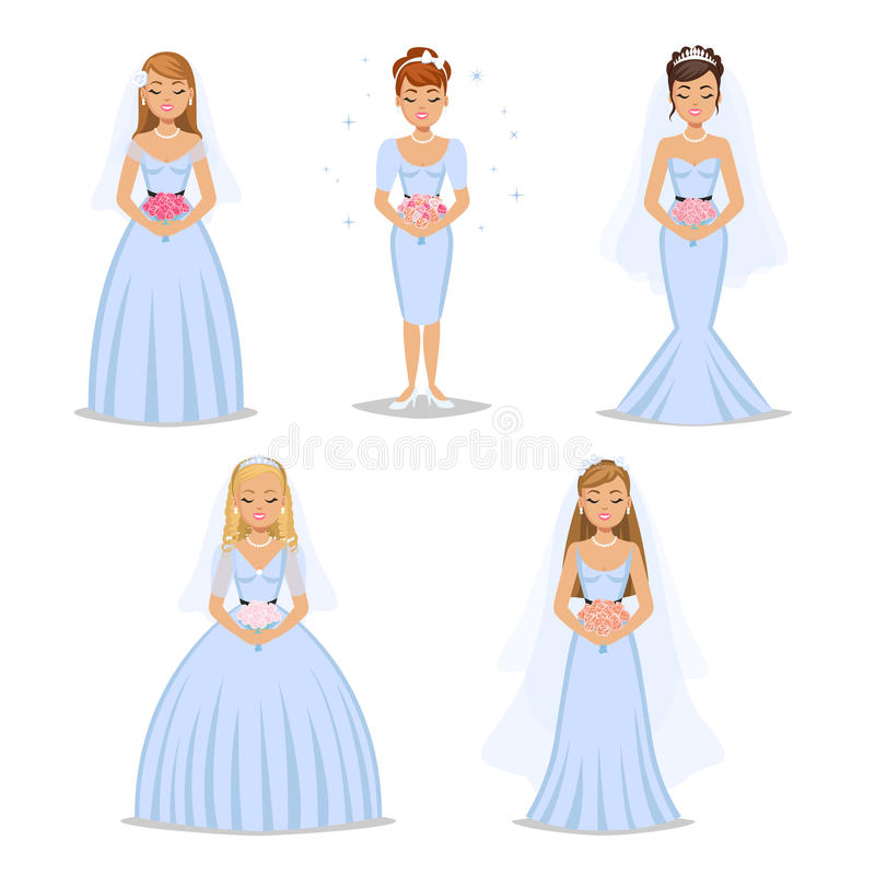 Different Types Wedding Dress Collection Stock Vector