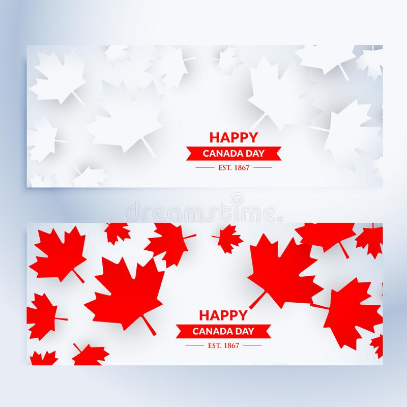 Set of happy canada day banners vector illustration