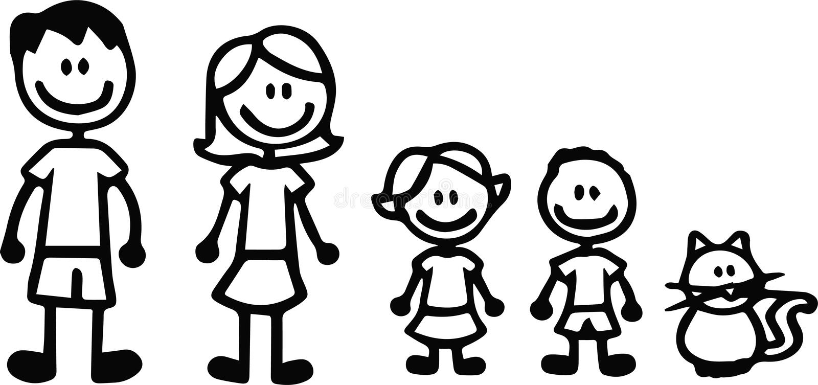 Set of happy cartoon doodle figure family, stick man. Stickman Illustration Featuring a Mother and Father and Kids. Vector stock illustration