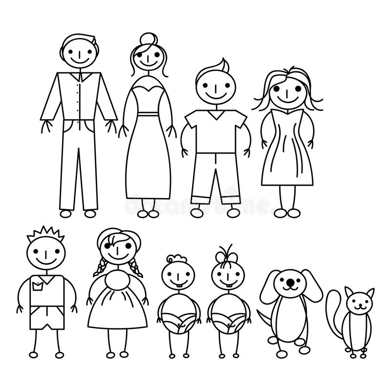 Set of happy cartoon doodle figure family, stick man. Stickman Illustration Featuring a Mother and Father and Kids stock illustration