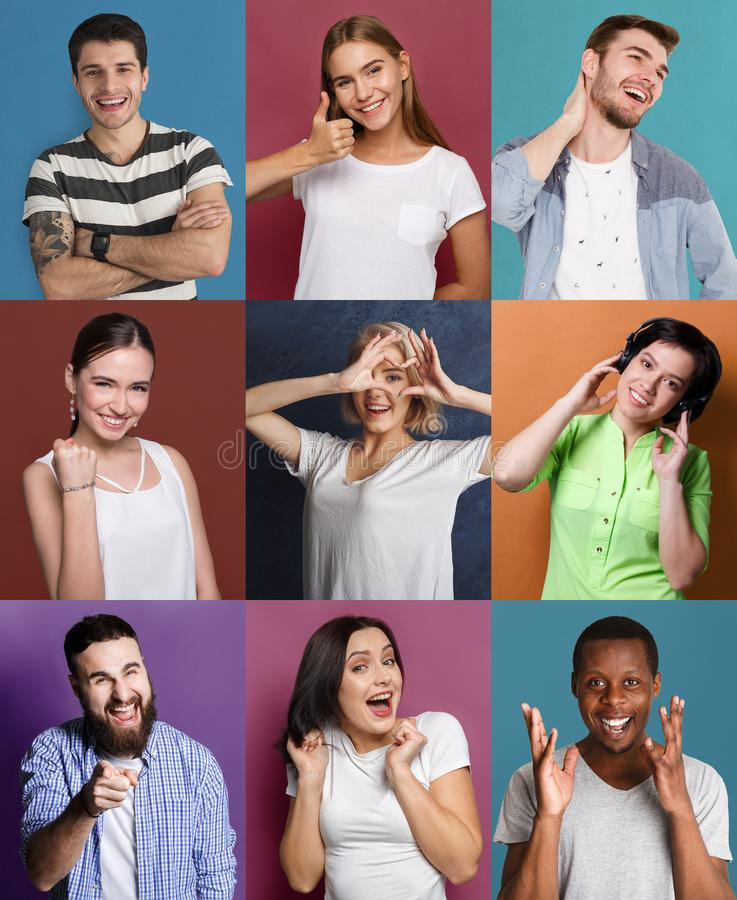 Set of happy diverse people at studio backgrounds royalty free stock photos