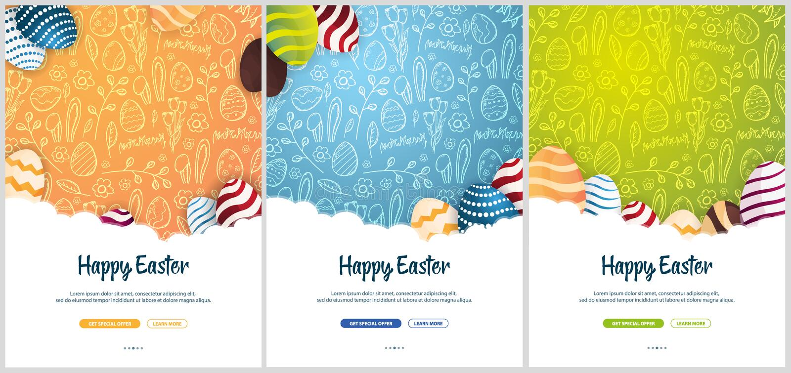 Set of Happy Easter banners. Easter Eggs. Doodle hand draw background. Vector illustration. royalty free illustration