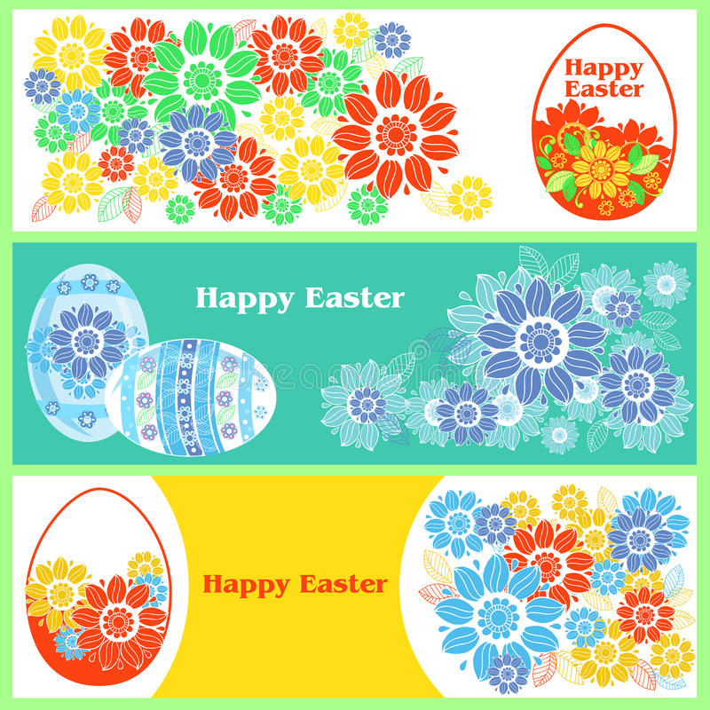 Set of Happy Easter banners stock illustration