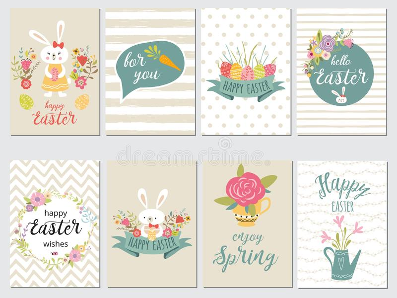 Set of Happy Easter card templates with eggs flowers floral frames wreaths rabbit typographic design vector illustration