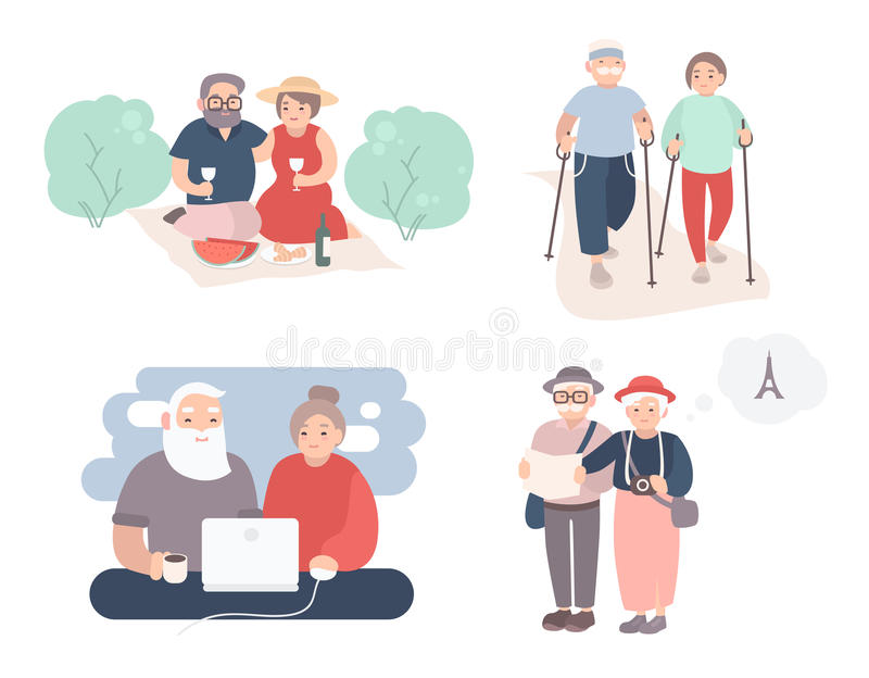 Set of happy elderly couple. Grandparents in different situations collection. Active lifestyle of old people. Colorful royalty free illustration