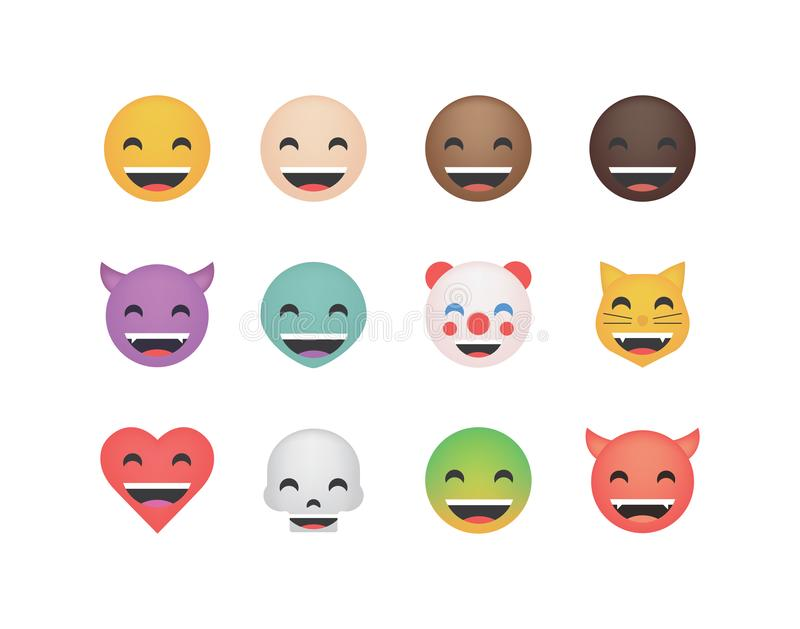 Set of happy emoticon vector royalty free illustration