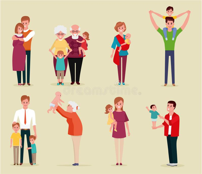 Set of happy family, illustration of groups different families. Colorful vector illustration in flat cartoon style. stock illustration