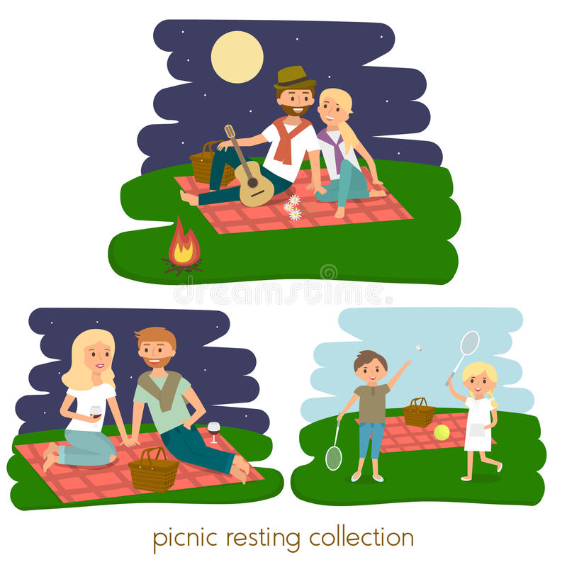 Set of Happy family picnic resting. Young couple outdoors. Summer family picnic. Vector Illustration. stock illustration