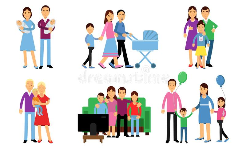 Set With Happy Family Relation And Spending Time Together Concept Vector Illustrations. Happy family relation and spending time together. Family with children vector illustration