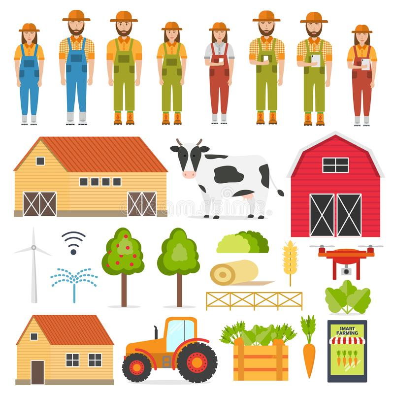 Set of happy farmers and smart Farming elements stock illustration