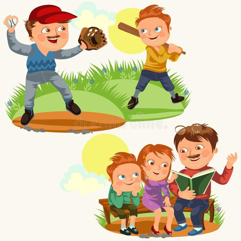 Set happy fathers day greeting card, dad fun with kids, read book for childrens in park bench, reading fairy tales vector illustration