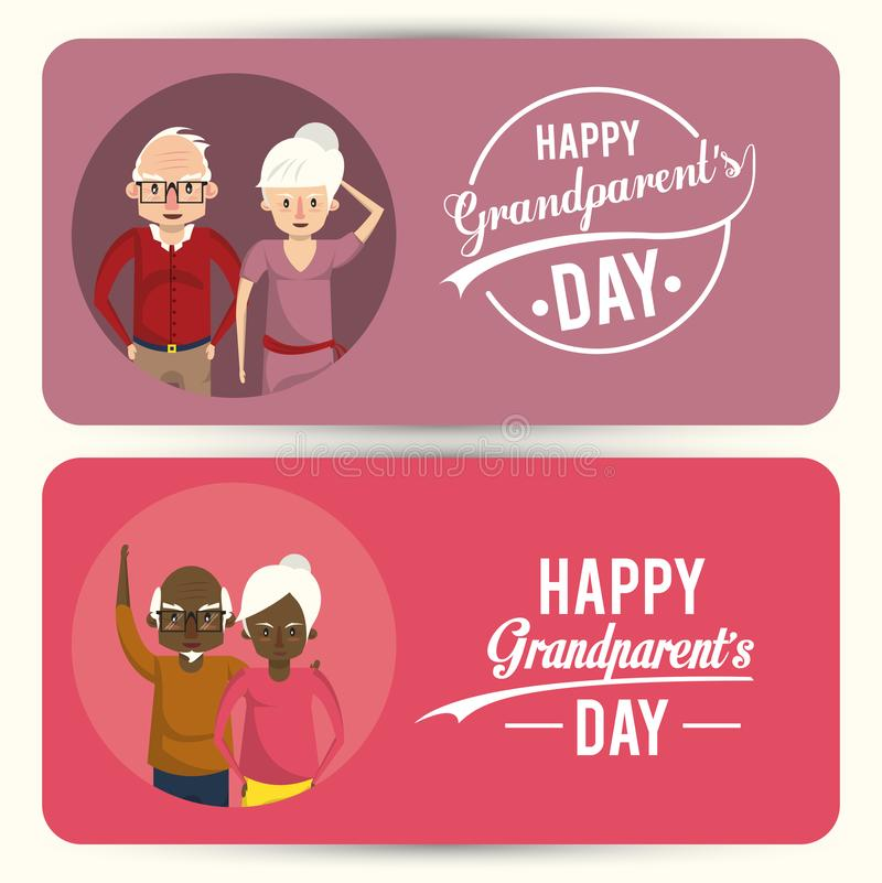 Set of Happy grandparents day card with cartoons. Set of Happy grandparents day card with grandmothers and grandfathers couple cartoons, banners and posters stock illustration