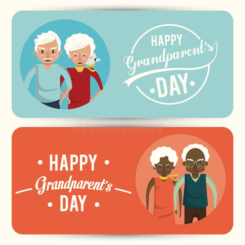 Set of Happy grandparents day card with cartoons. Set of Happy grandparents day card with grandmothers and grandfathers couple cartoons, banners and posters vector illustration