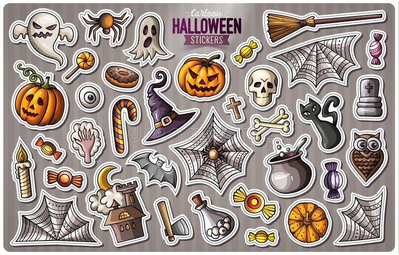 Set of Happy Halloween cartoon stickers vector illustration