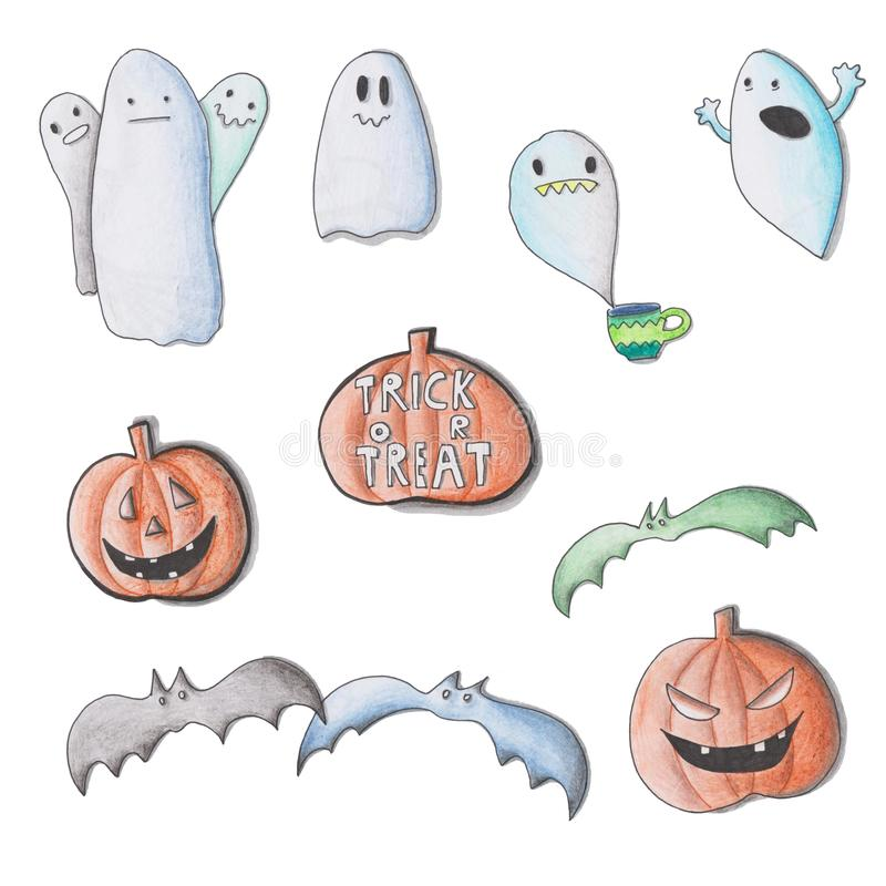 Set of happy halloween design element royalty free illustration