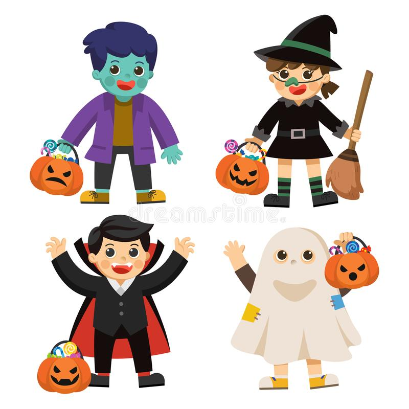Children in colorful costumes and pumpkin basket with candy. stock illustration
