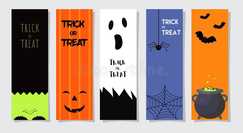 Set Of Happy Halloween Greeting Cards or Flyers. Vector Illustration. Party Invitation Design with Emblem. vector illustration