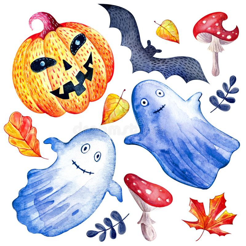Set of happy Halloween watercolor on white background. Isolated hand drawn funny and cute characters, pumpkin, Ghost, bat, fly stock illustration
