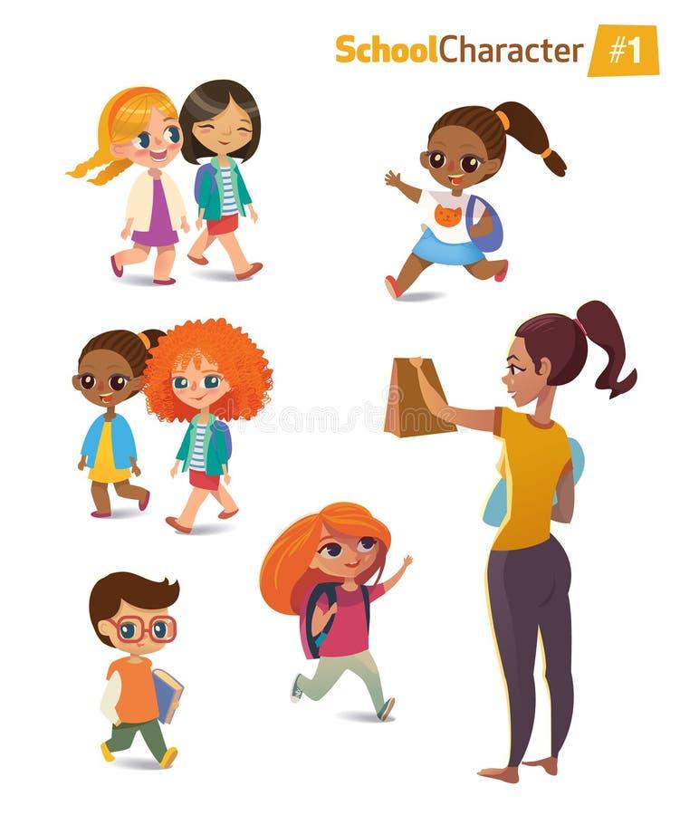 Set of happy joyful cartoon kids in motion and woman. Vector illustration. . Set of happy joyful cartoon kids in motion and woman. Vector illustration stock illustration