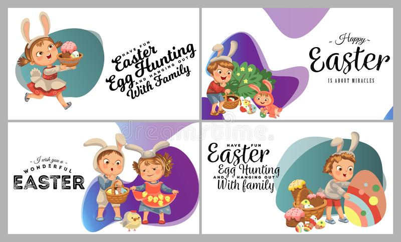 Set of Happy kids in bunny costume with ears hunting easter eggs, childrens play rabbits on spring holiday, decorative royalty free stock photo