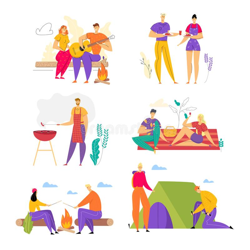 Set of Happy Loving Couples Spend Time Together Outdoors, Men and Woman Having Fun in Camping, Barbeque. People Enjoying Summer Outdoor Activity on Nature in stock illustration