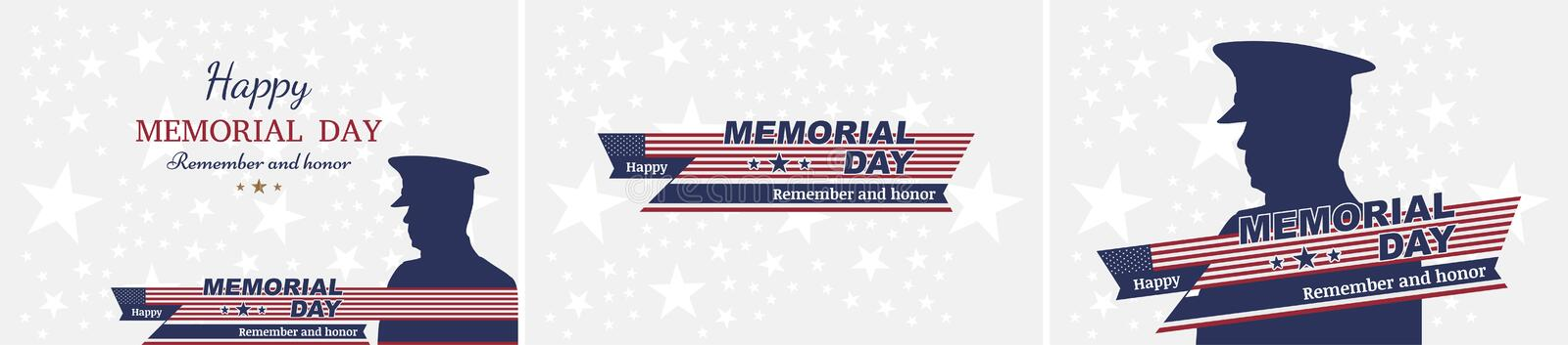Set happy memorial day. Greeting cards with flag and soldier on background. National American holiday event stock illustration