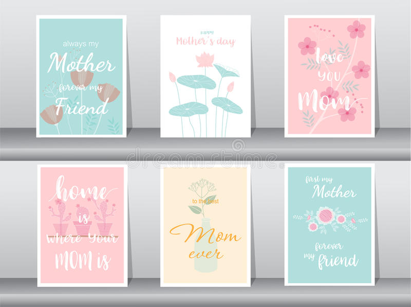 Set of Happy Mother`s Day card,poster,template,greeting cards,flower,Vector illustrations vector illustration